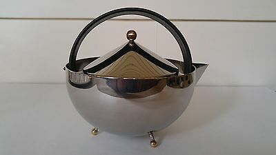BODUM Stainless & Brass Teaball Tea Kettle Pot C Jorgensen Vintage Post Modern