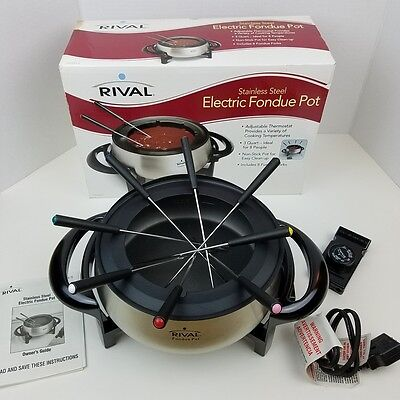 Rival Stainless Steel Electric Fondue Pot with 8 Forks NIB* Non-Stick FD325 S