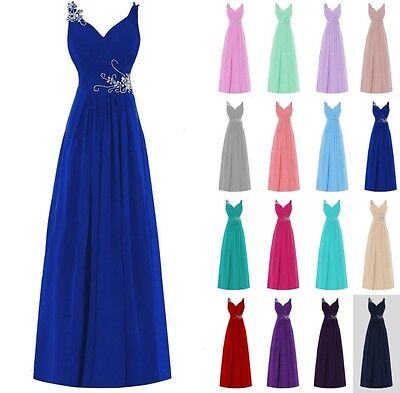 New Long Chiffon Formal Evening Party Ball Gown Prom Bridesmaid Dress Size 6-20+