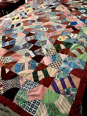 Vintage Antique Grandmothers Fan Quilt Top Cotton 86X93 1930's?