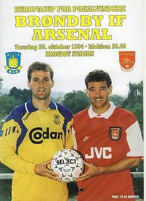 BRONDBY v Arsenal (Cup Winners Cup) 1994/5 Programme
