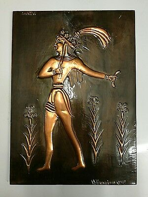 ~Vintage ~Copper ~Plaque ~Wall Hanging~ Greek?~ Knossos ~Prince of Lilies ~VGC~