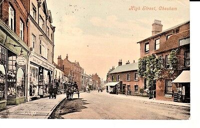 1906 CHESHAM High Street - shops, horses & buggies, people, publisher Smith Bros