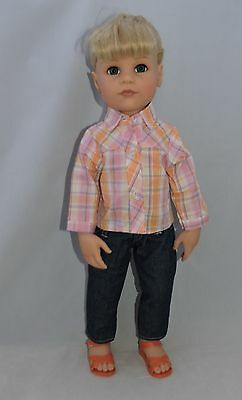"Plaid outfit fits Gotz and other skinny 18"" dolls"