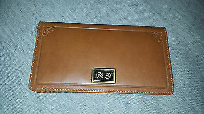 leather checkbook cover engraved intials R G
