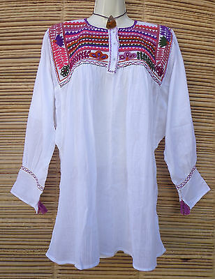 Mexican Peasant Blouse Huipil Flowers Embroidered from Chiapas L, XL