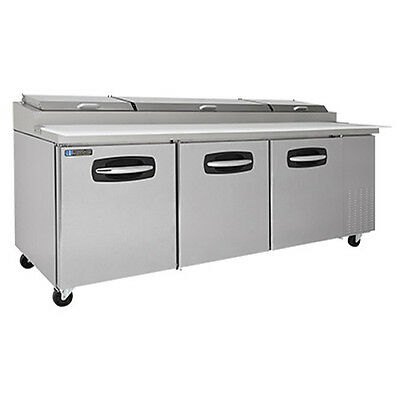 MasterBilt MBPT93-007 3 Section Fusion Refrigerated Pizza Prep W/ Door & Drawers
