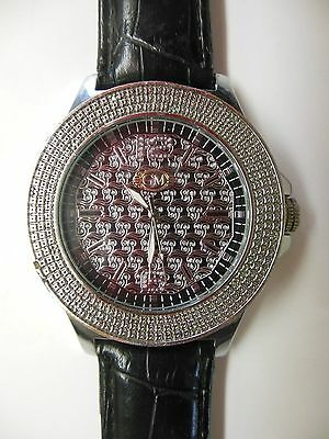Grand Master Wrist Watch Diamonds Leather 30 Meter Water Resistant LARGE DIAL!!!