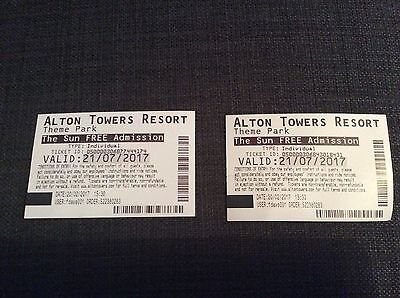 2x Alton Towers Tickets 21/07/17