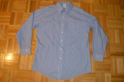 BROOKS BROTHERS Mens 16 33 Slim Fit Non Iron Casual Dress Shirt Blue Cotton