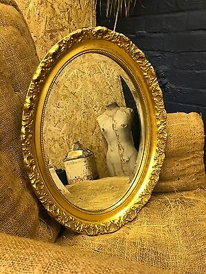 Beautiful Vintage Oval Gilt Gold Gesso & Beaded Framed Bevelled Edge Wall Mirror