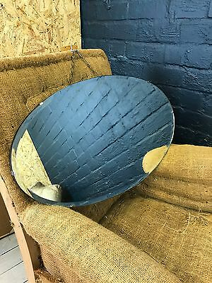 Lovely Vintage Art Deco Oval Bevelled Edge Frameless Wall Mirror With Chain