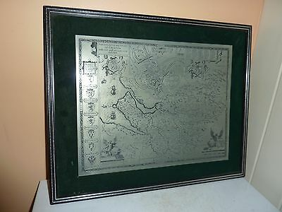 Retro 70's Metal Engraved 31 By 24.1Cm John Speed Map County Palatine Of Chester