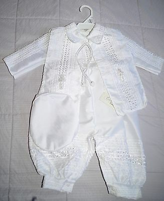 NWT Christening 3 piece Baptism Boy Outfit Romper (ropón De Bautismo)