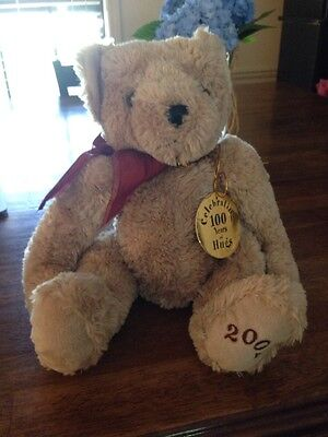 ANIMAL ALLEY 2002 LIGHT BROWN TEDDY BEAR WINE COLOR BOW PLUSH STUFFED with Tag