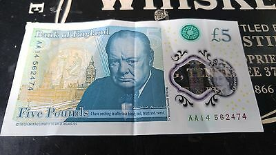 Used £5 note/Five Pound Note Low Serial Number AA14