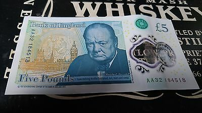 Used £5 note/Five Pound Note Low Serial Number AA32