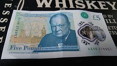 Used £5 note/Five Pound Note Low Serial Number AA46