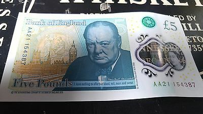 £5 note/Five Pound Note Low Serial Number AA21