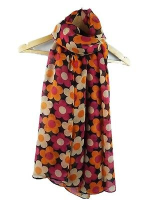 Ladies Womens Pretty Flower Print Scarf Retro Bright Wrap Shawl  Navy Grey Black
