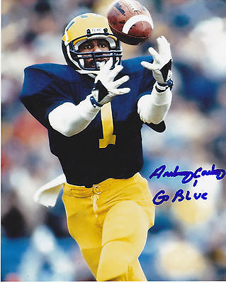 ANTHONY CARTER  MICHIGAN PANTHERS  GO BLUE    ACTION SIGNED 8x10
