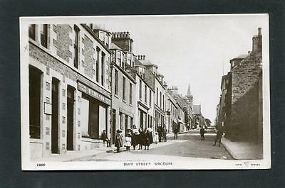 Macduff nr Banff - Duff Street showing Shopfronts RP p/u 1908