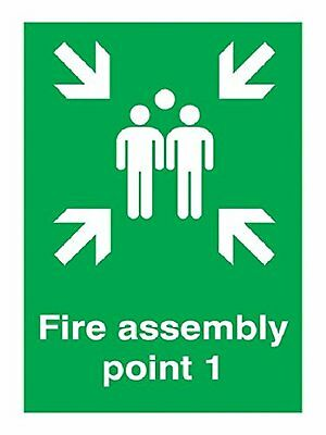 "Signs and Labels AMZFR046ARWVR ""Fire Assembly Point 1"" Safe Condition Safety 600"