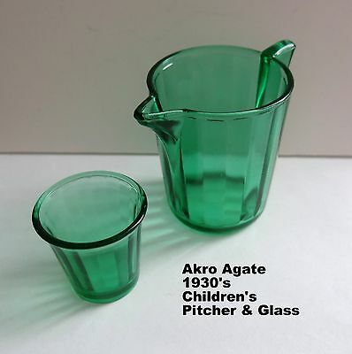 1930's Vintage Akro Agate Green Translucent Child's Pitcher and 1 Glass Perfect!