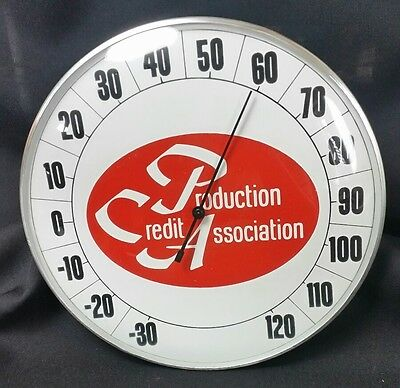 Vintage PCA Production Credit Association glass clock face dial thermometer sign