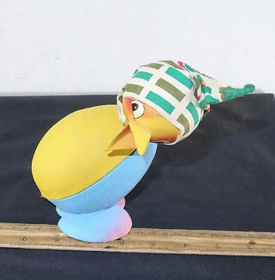 CUTE Vintage Bobble Head Easter Duck Paper Mache Candy Germany !