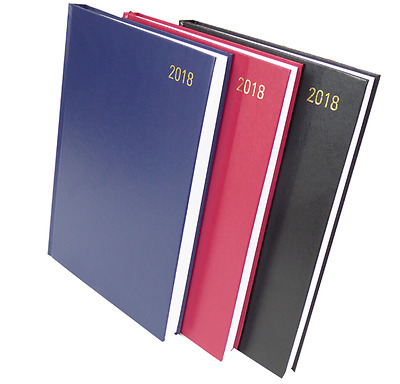 2018 Diary A4 A5 A6 - Day to View - Week to View -  Hardback Black Red Blue
