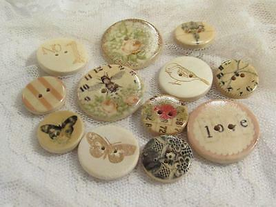 Wooden Buttons Sewing Craft Floral Carved Bees Flowers Butterfly Asst Sizes - 12