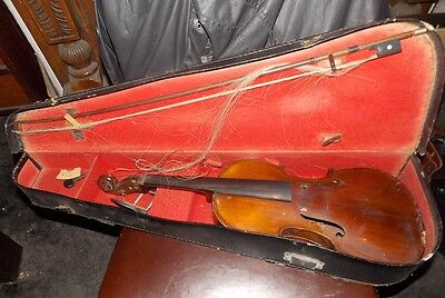 Old  antique   violin full size labelled Herbert ROTH