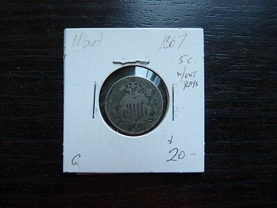 Vintage Usa 5 Cent 1867 Witout H Ray   Value  20.00   N891