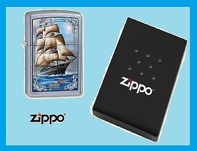 Beautiful Ship Zippo Lighter Set Sail By Mazzi Made in USA New Free Shipping USA