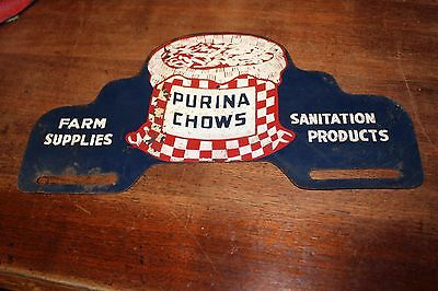 RARE 1940's Purina Chows farm supplies license plate topper crushed glass smaltz