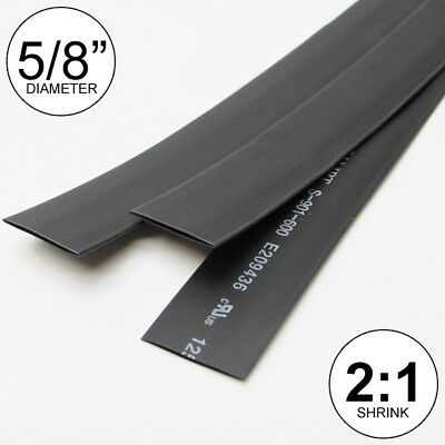 "(2 FEET) 5/8"" Black Heat Shrink Tubing 2:1 Ratio Wrap inch/foot/ft/to U.S.A 16mm"
