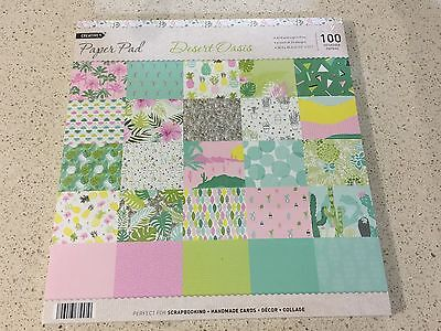 "🍍Scrapbook Paper Pad 12"" X 12"" 100 Sheets Flamingo, Cactus, Pineapple Print 🌵"
