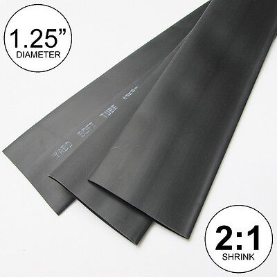 "1.25"" ID Black Heat Shrink Tubing 2:1 ratio 1-1/4"" wrap (2 feet) inch/ft/to 30mm"