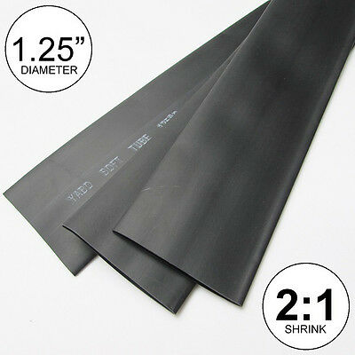 "(2 FEET) 1.25"" Black Heat Shrink Tubing 2:1 Ratio inch/foot/ft/to 1-1/4"" 30mm"