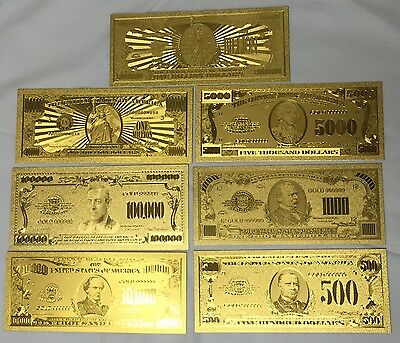 Beautiful 7 Pcs .999 24kt Gold $500 Through $One Billion US Banknotes + Sleeves