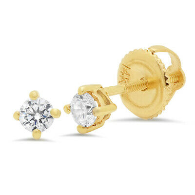 0.5 ct Round Cut Solitaire Stud Earrings Solid 14k Real Yellow Gold Screw Back