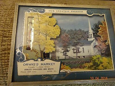 Vintage Advertising Thermometer Avon ILL Orwig's Market