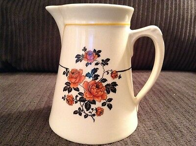 Vintage Steubenville Ivory China Creamer Floral Peach Black Pitcher