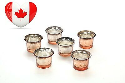 Set of 6 Hosley Metallic Champagne Gold Glass Candle Tealight Holder with...
