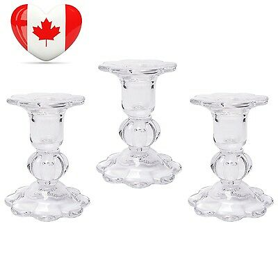 """Hosley's Set of 3 Glass Taper Candle holders 3.9"""" High. Classic decor for..."""