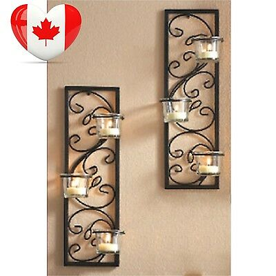 """Hosley® Set of Two 13.75"""" High Black Iron Tealight Wall Sconce. Includes..."""