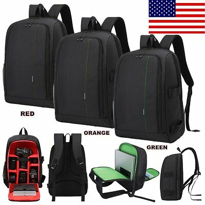 Waterproof Travel SLR Camera Backpack Rucksack Laptop Tablet Lens Case Bag Nylon