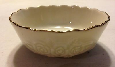 "Lenox Ivory Porcelain ""rose Blossom"" Gold Trim Bowl 4 1/2"" In Diameter"
