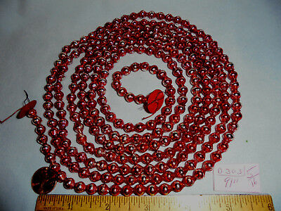 """Christmas Garland Mercury Glass Red-Silver 91"""" Long 5/16"""" Beads #D303 Vintage"""